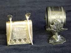 193: Pair silverplate Napkin Rings