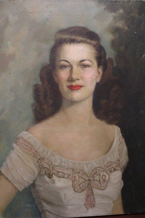 1950's Vintage Portrait, Oil on Canvas