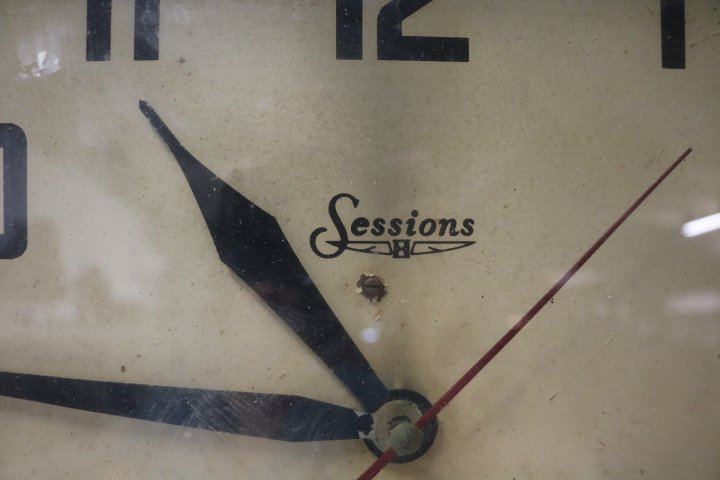 Square Metal Electric Sessions School House Clock - 2