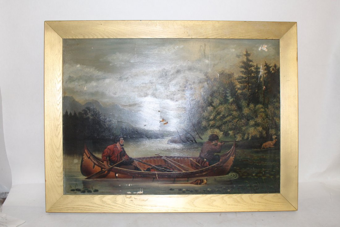 Oil on Board, circa 1800, woodland stream hunt scene - 2
