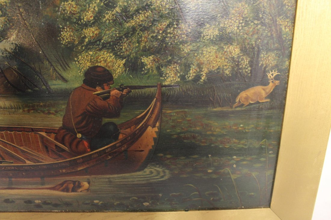 Oil on Board, circa 1800, woodland stream hunt scene - 5