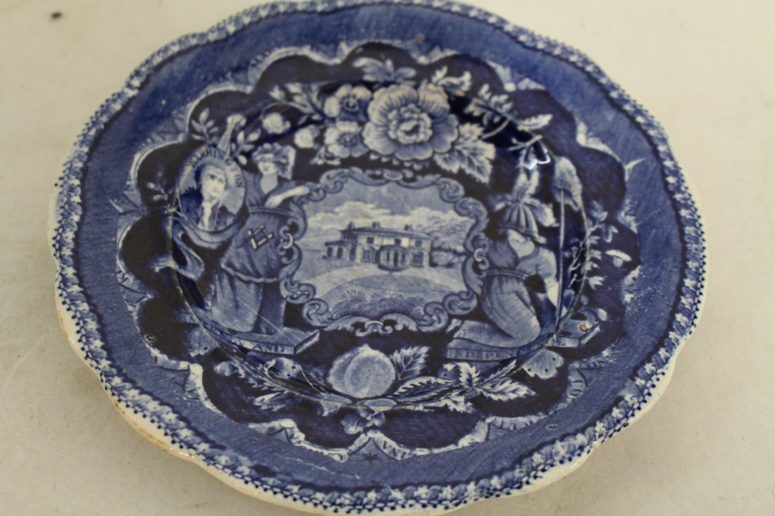 Staffordshire 1825, George Washington Masonic Flow Blue
