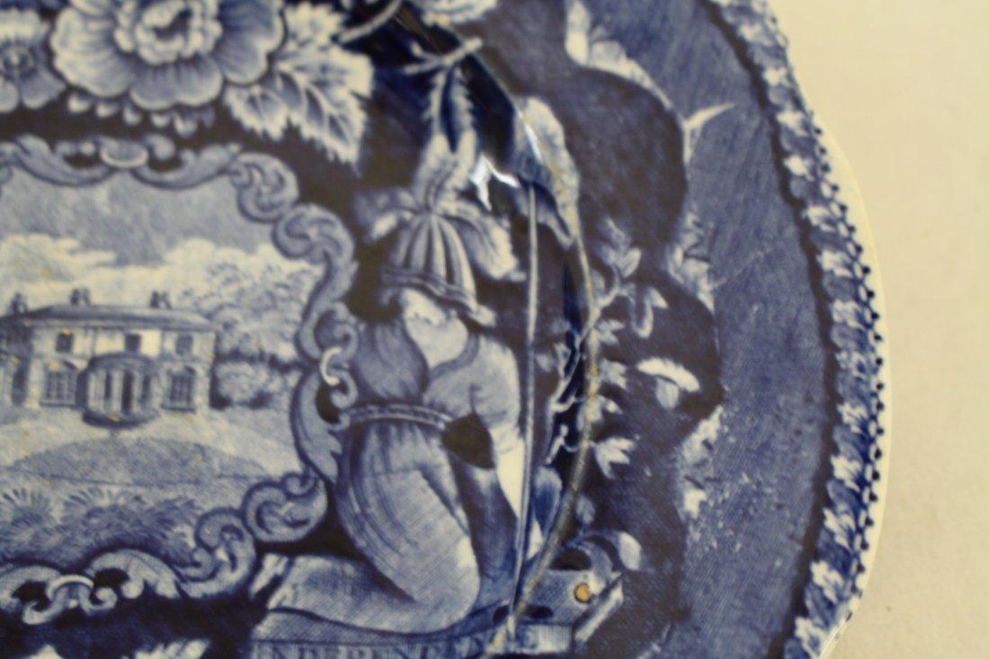 Staffordshire 1825, George Washington Masonic Flow Blue - 3