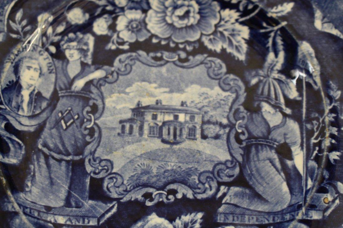 Staffordshire 1825, George Washington Masonic Flow Blue - 4