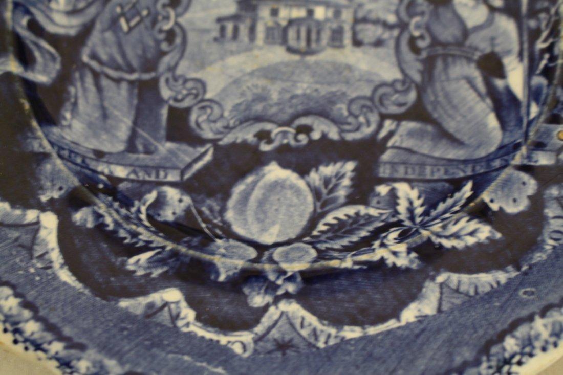 Staffordshire 1825, George Washington Masonic Flow Blue - 5