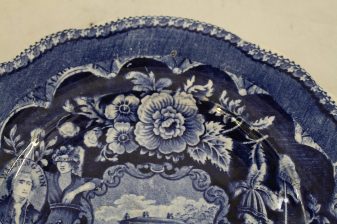 Staffordshire 1825, George Washington Masonic Flow Blue - 6