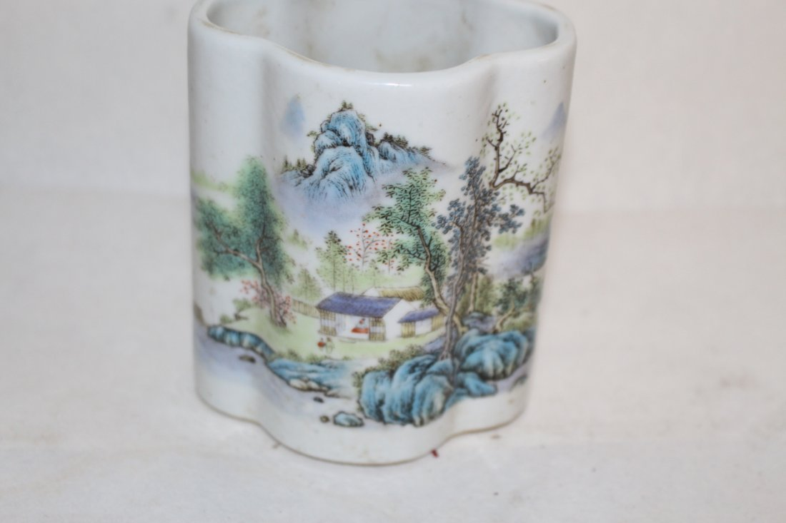 Chinese Porcelain Brush Pot with Landscape - 2