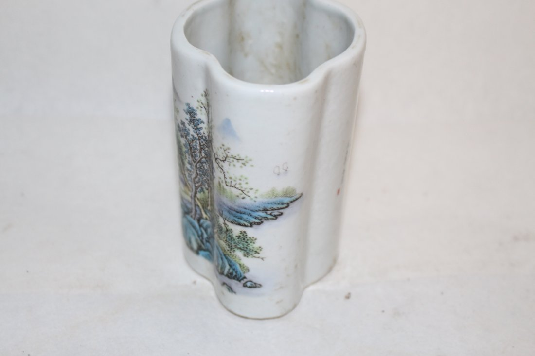 Chinese Porcelain Brush Pot with Landscape - 3