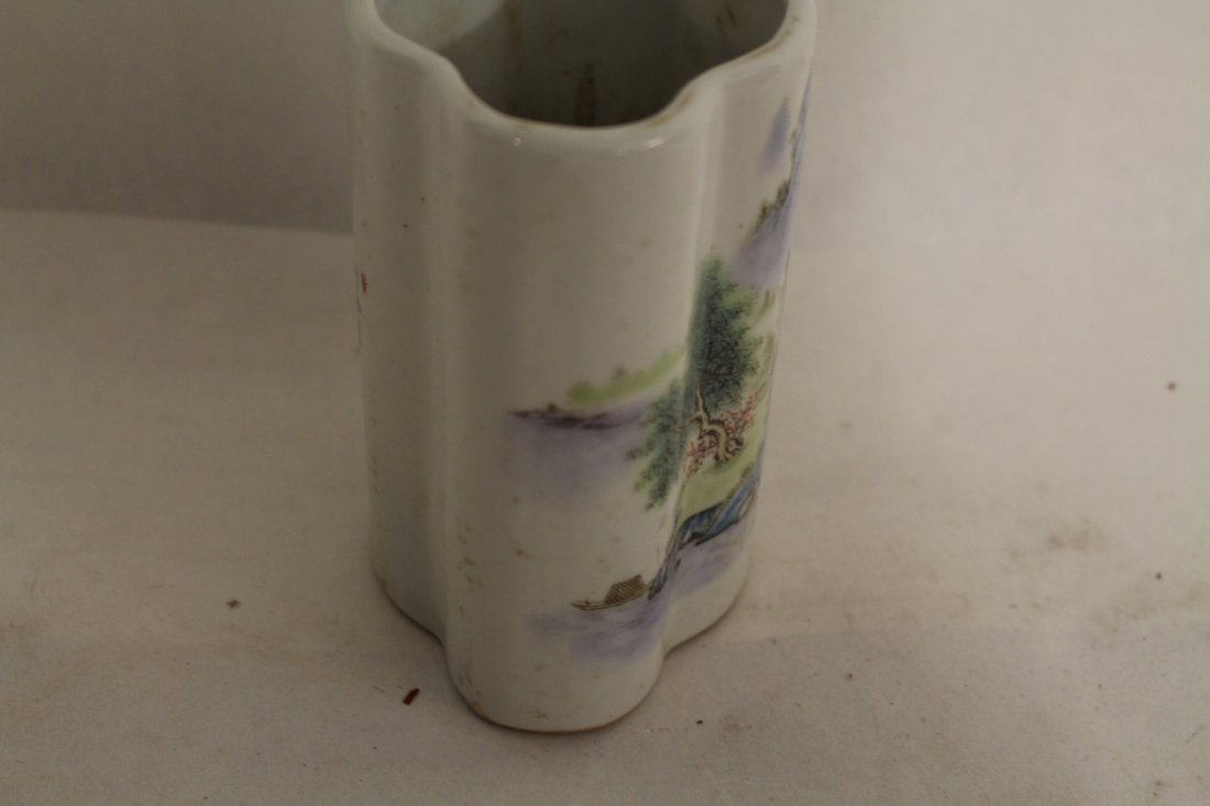 Chinese Porcelain Brush Pot with Landscape - 6