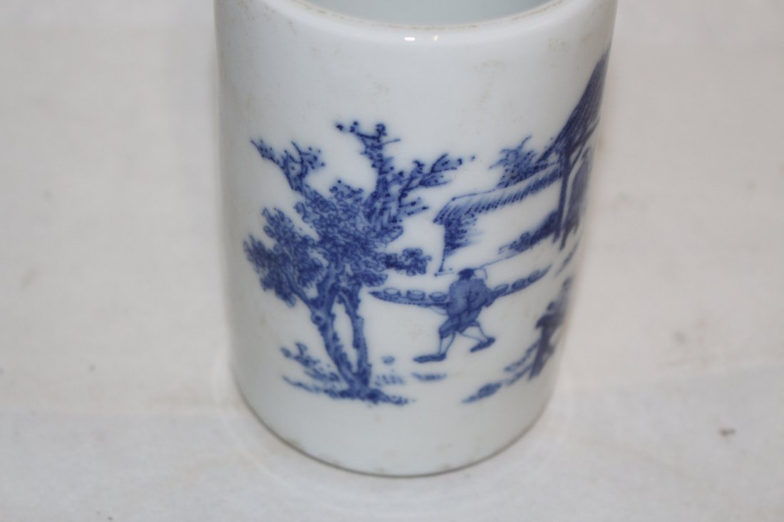 Chinese Blue and White Porcelain Brush Pot - 4