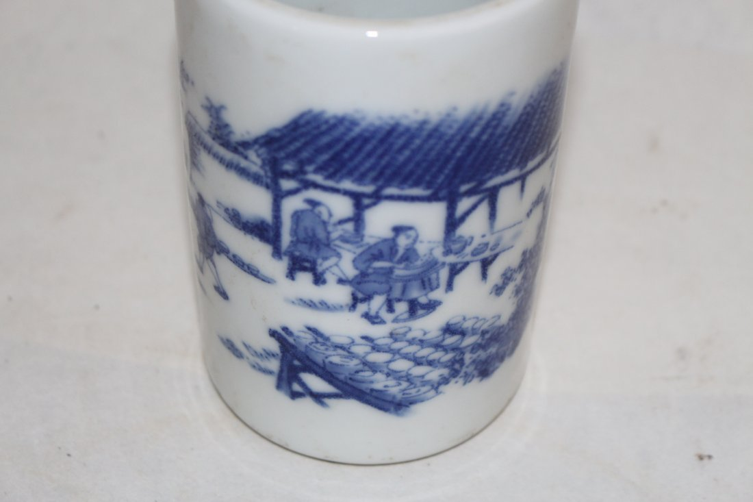 Chinese Blue and White Porcelain Brush Pot - 5
