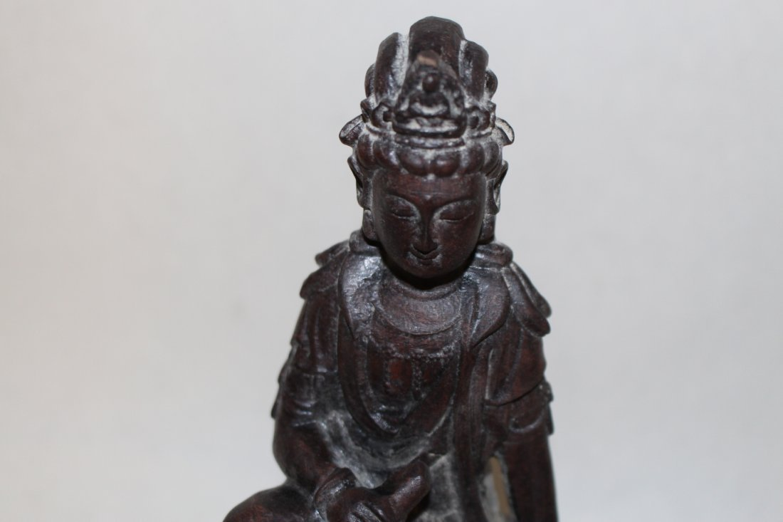 Antique Carved Wood Chinese Goddess - 5