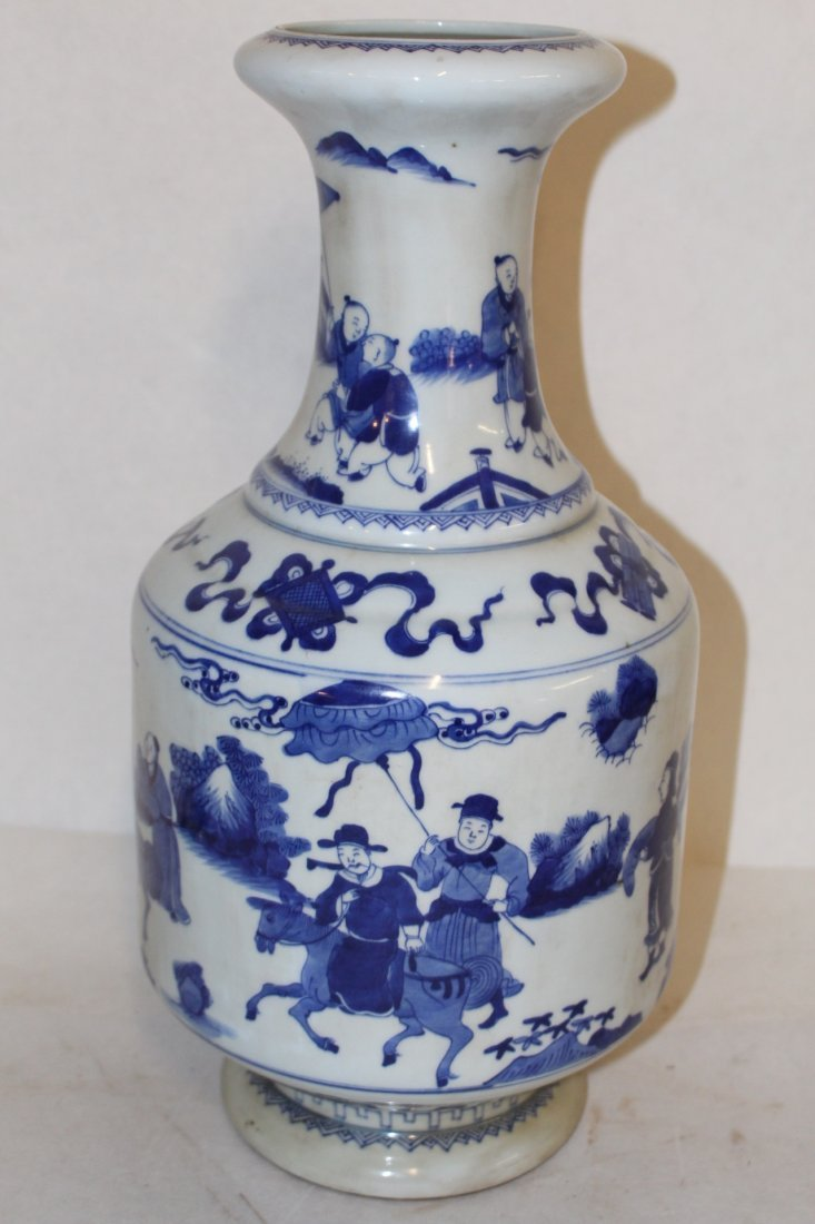 Large Antique Chinese Blue and White Porcelain Vase