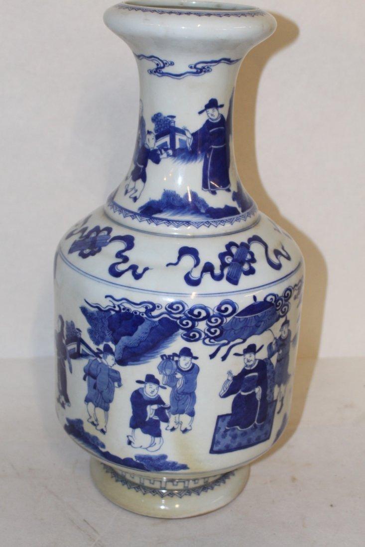 Large Antique Chinese Blue and White Porcelain Vase - 3