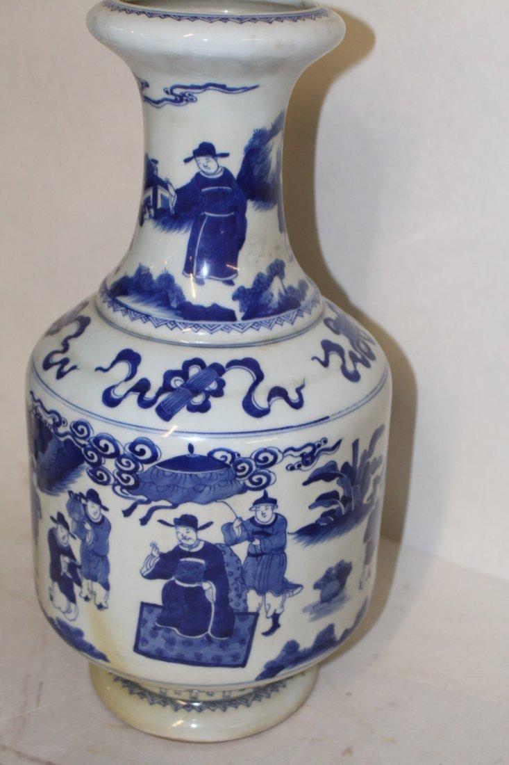 Large Antique Chinese Blue and White Porcelain Vase - 4