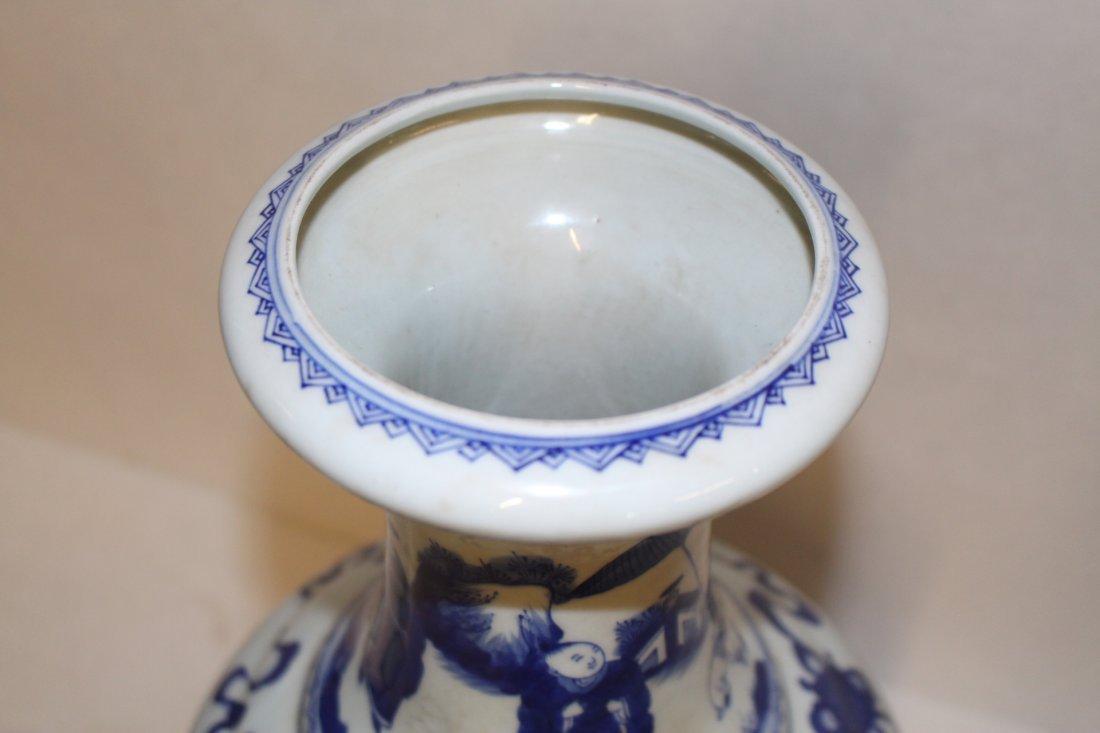 Large Antique Chinese Blue and White Porcelain Vase - 6