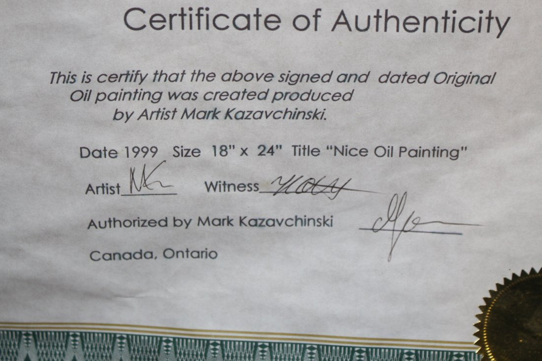 "Mark Kazavchinski, ""Nice Oil Painting"" with certificate - 4"