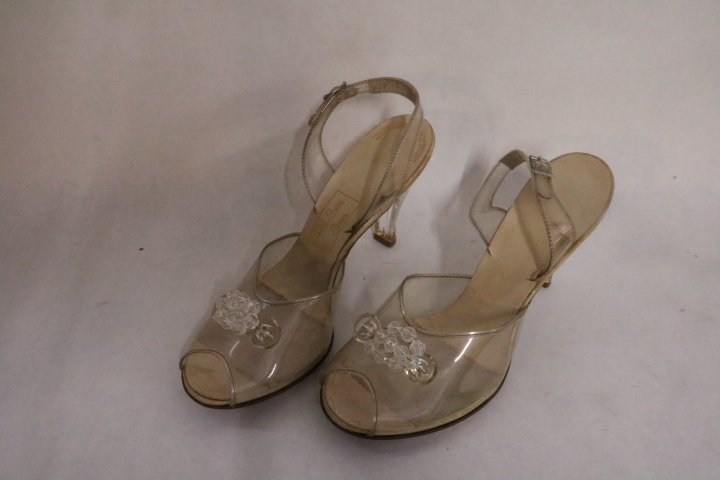Vintage 1950's Lucite & Clear Vinyl, Red Cross Shoes,