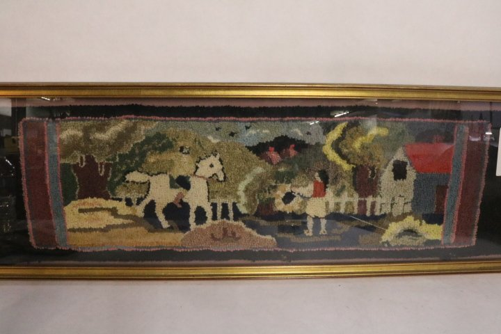 Antique Folk Art Hand Hooked Carpet framed