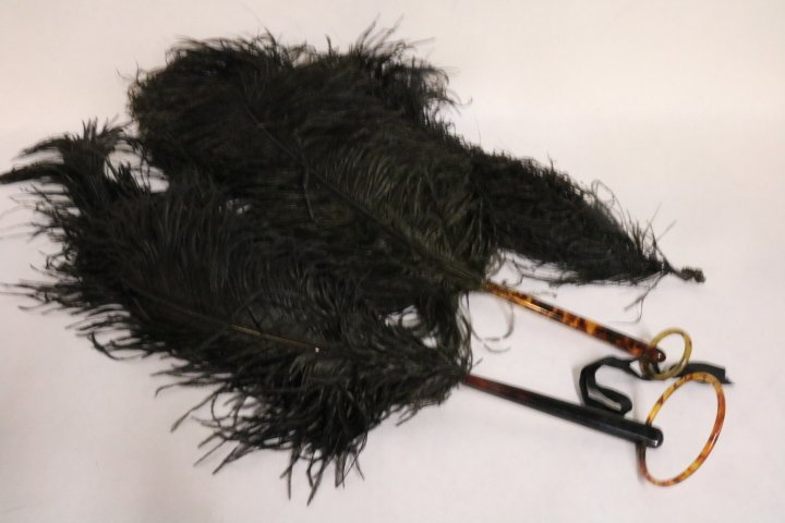 Victorian Black Ostrich Feather Fans and