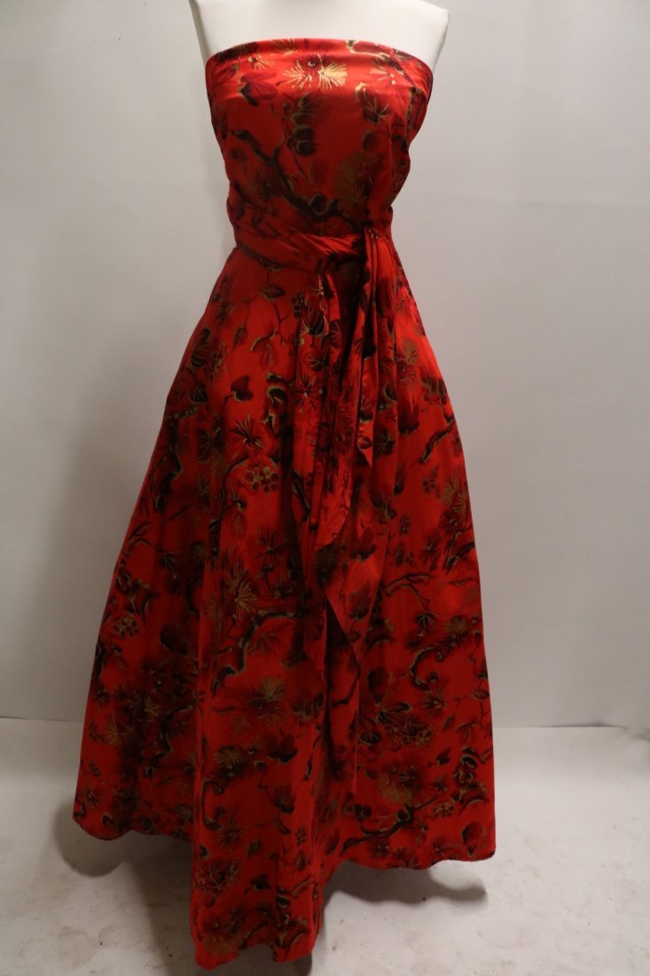 Stunning 1950's Hawaiian Pattern Cotton Halter Dress