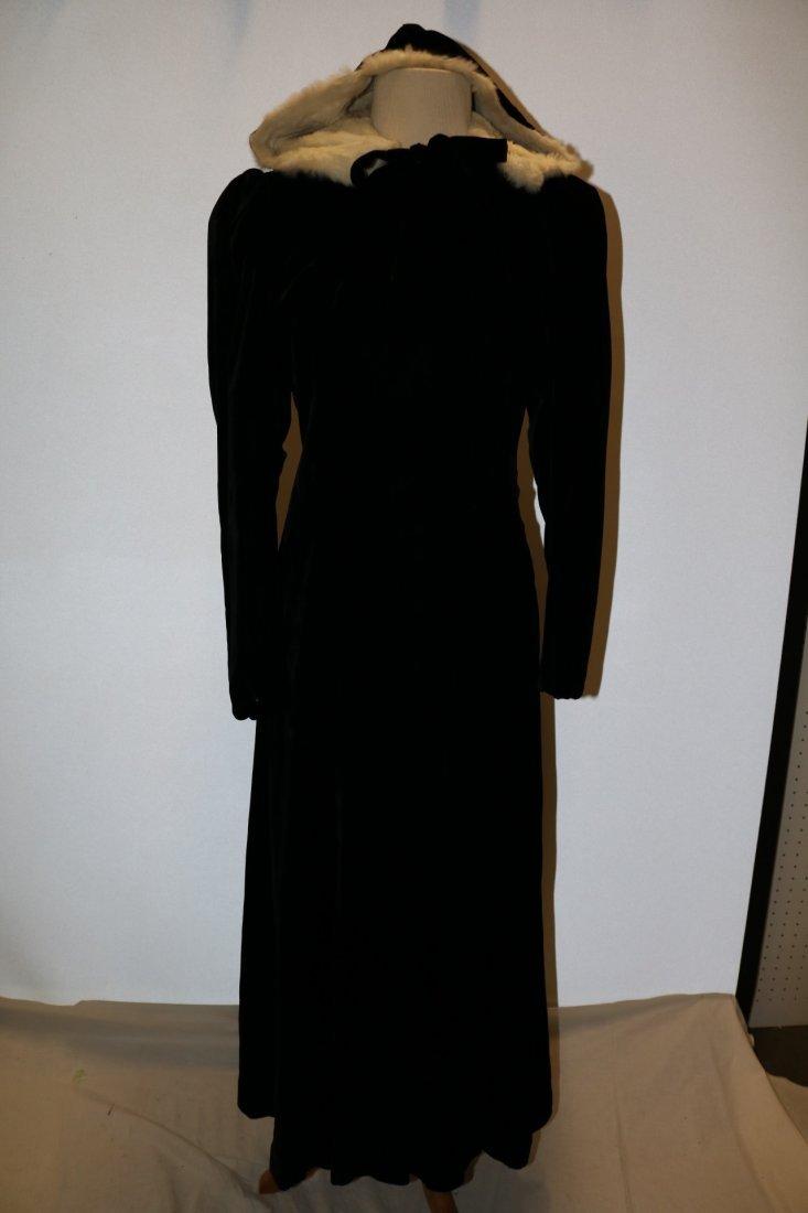Ladies Vintage Black Velvet Full Length Opera Coat with
