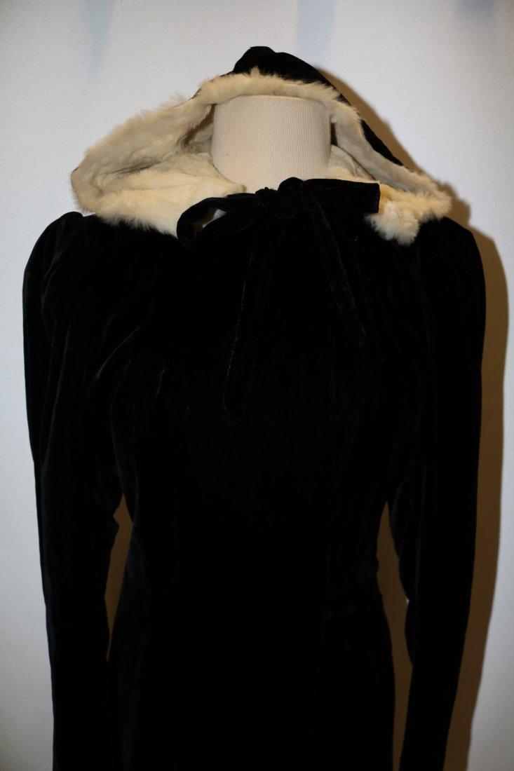 Ladies Vintage Black Velvet Full Length Opera Coat with - 2
