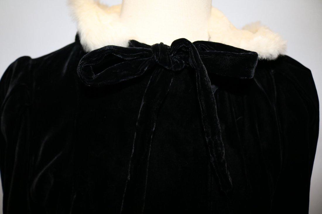 Ladies Vintage Black Velvet Full Length Opera Coat with - 4
