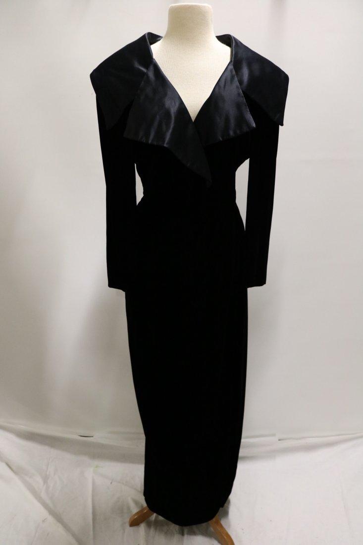 Vintage Ladies Velvet & Satin Full Length Gown by