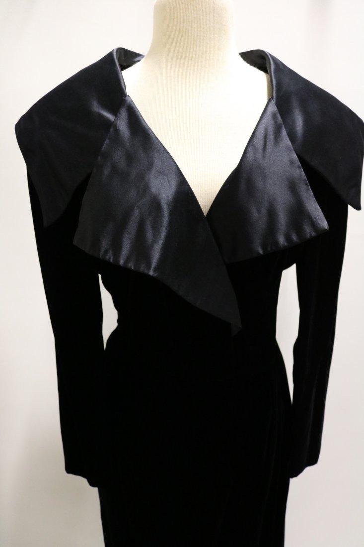 Vintage Ladies Velvet & Satin Full Length Gown by - 2