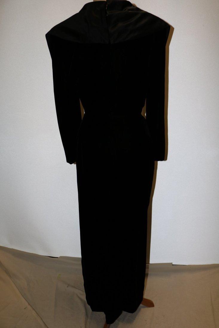 Vintage Ladies Velvet & Satin Full Length Gown by - 4