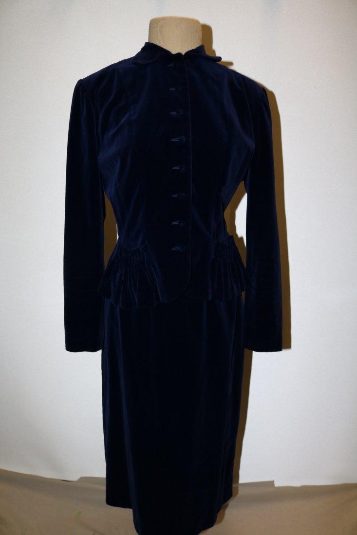 Vintage Ladies Velvet & Satin Full Length Gown by - 6