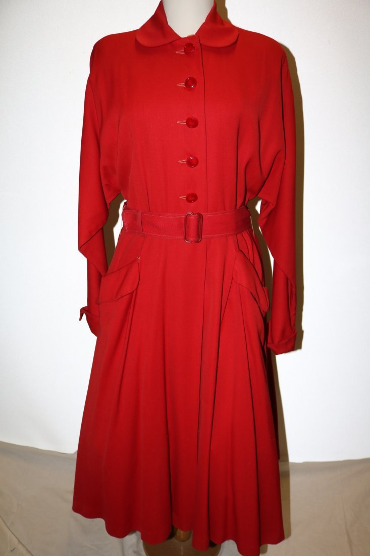 1940/50's Red Circle Skirt Coat by Aquatogs