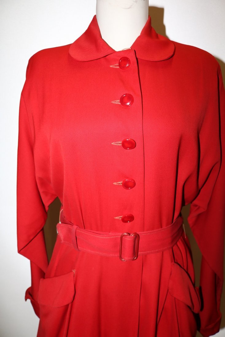 1940/50's Red Circle Skirt Coat by Aquatogs - 2