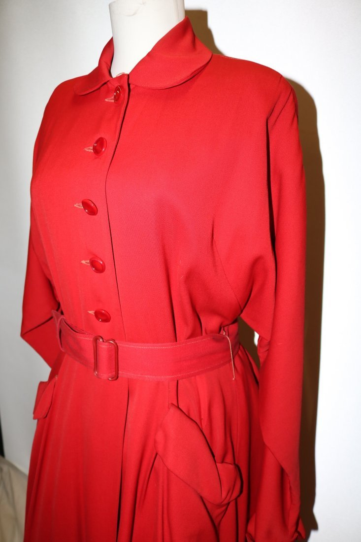 1940/50's Red Circle Skirt Coat by Aquatogs - 4