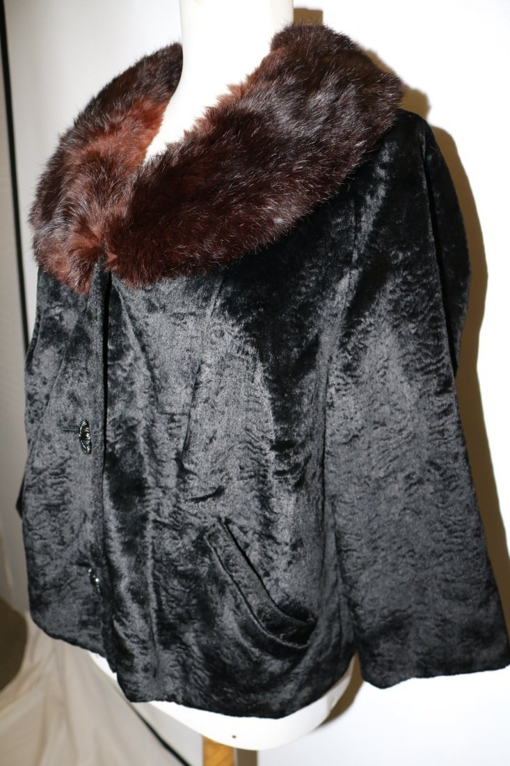 1950/60 Faux Sheered Beaver Swing Jacket with Mink - 2