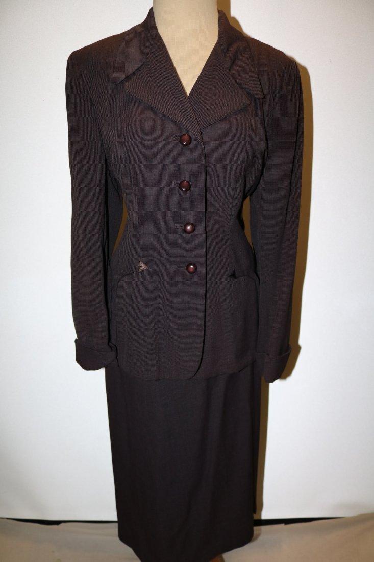 1940's 2 piece Skirt & Jacket set, Purple Pin Stripe,