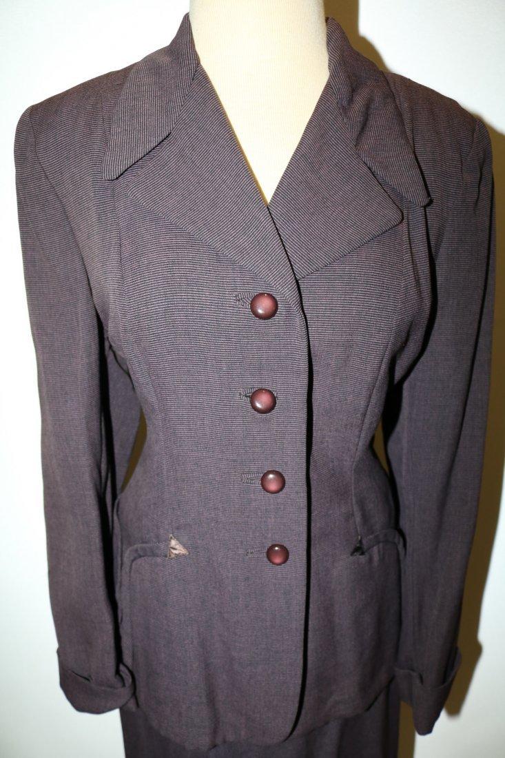 1940's 2 piece Skirt & Jacket set, Purple Pin Stripe, - 2