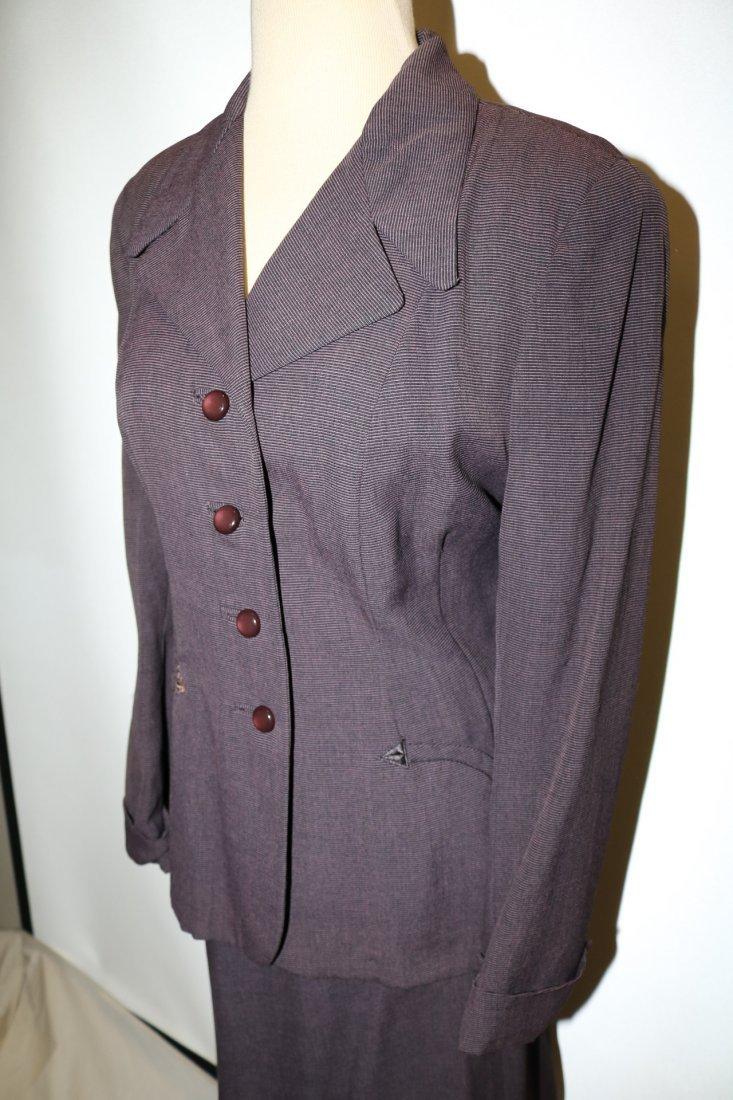 1940's 2 piece Skirt & Jacket set, Purple Pin Stripe, - 3