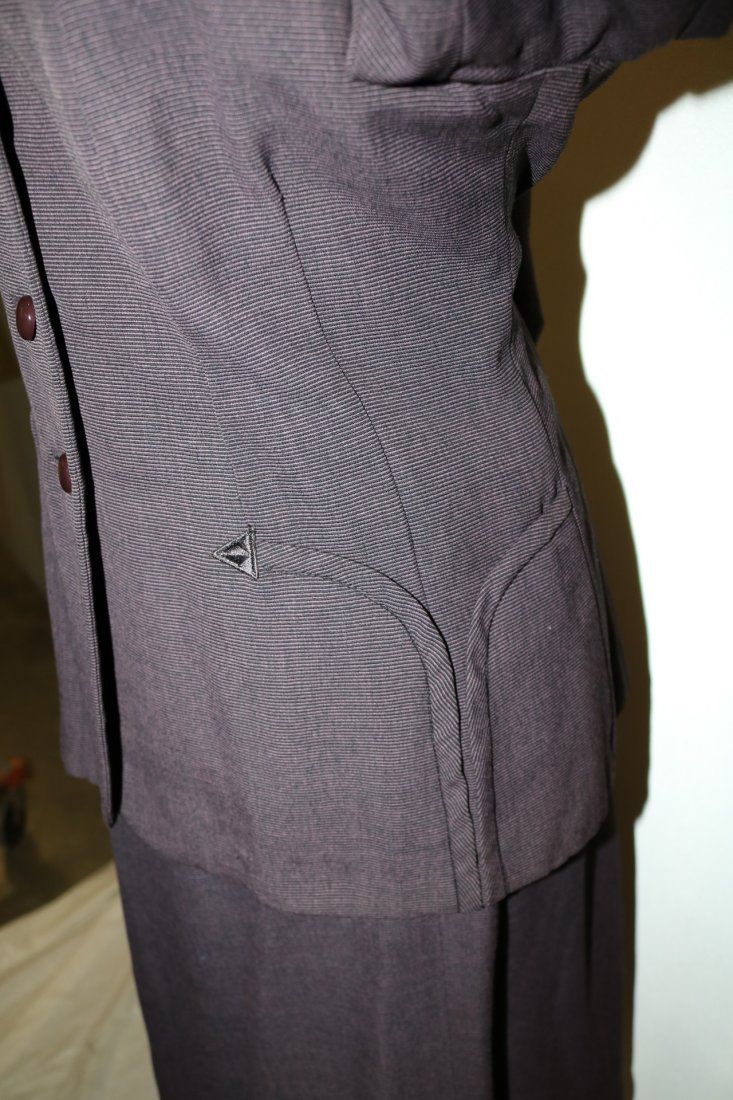 1940's 2 piece Skirt & Jacket set, Purple Pin Stripe, - 4