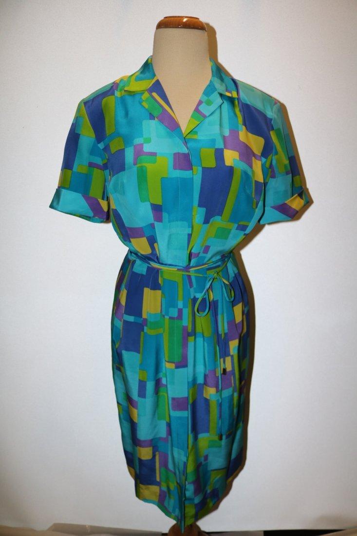1980's August Silk Shirt Dress, size 8