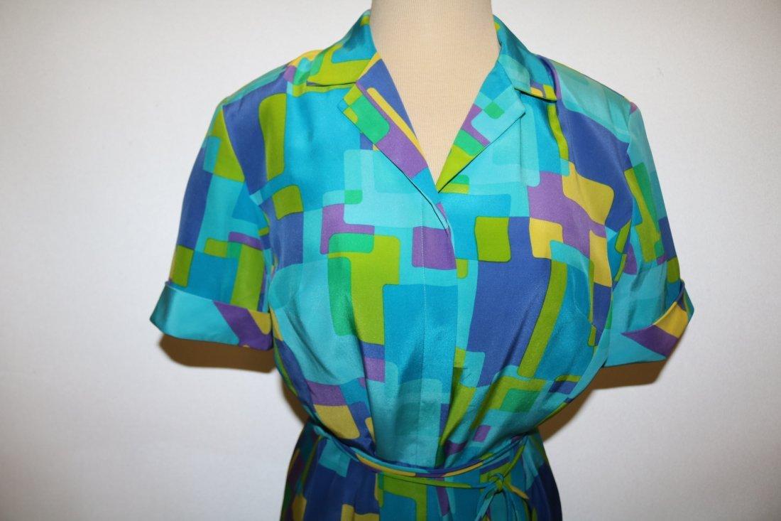 1980's August Silk Shirt Dress, size 8 - 2