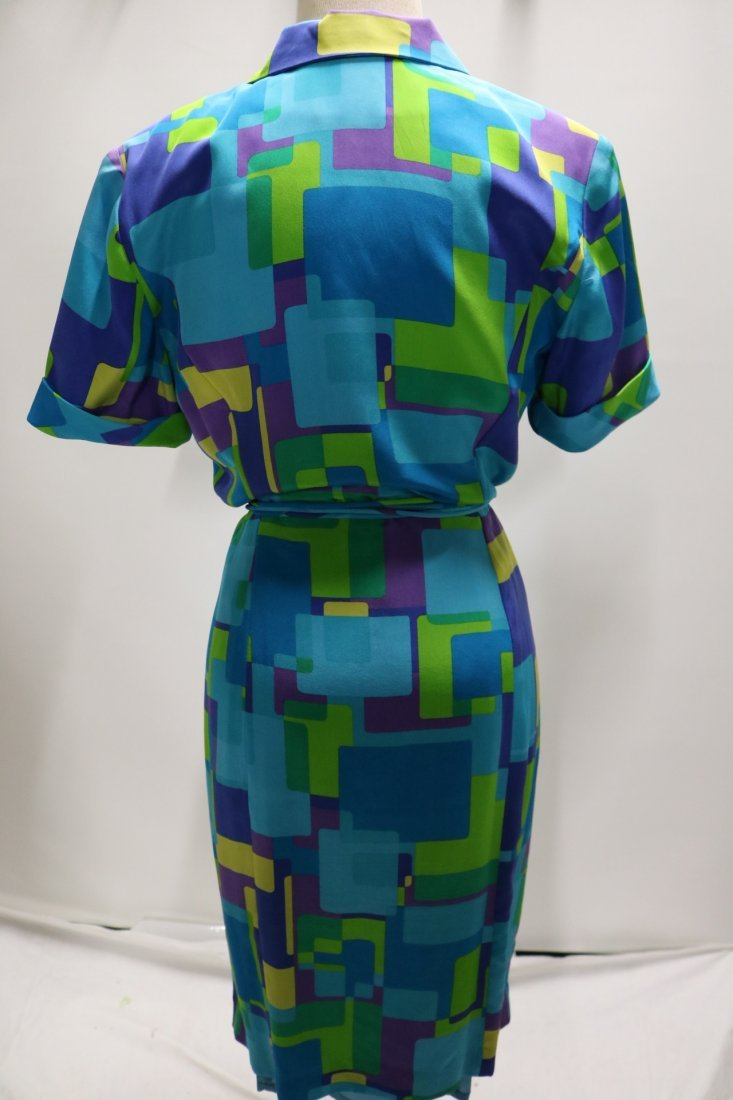 1980's August Silk Shirt Dress, size 8 - 4