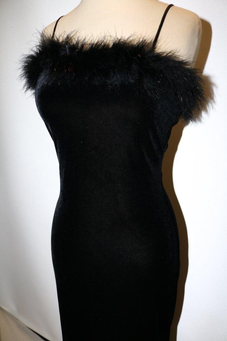 Black Velvet Spaghetti Strap Wiggle Maxi Dress/Gown - 3