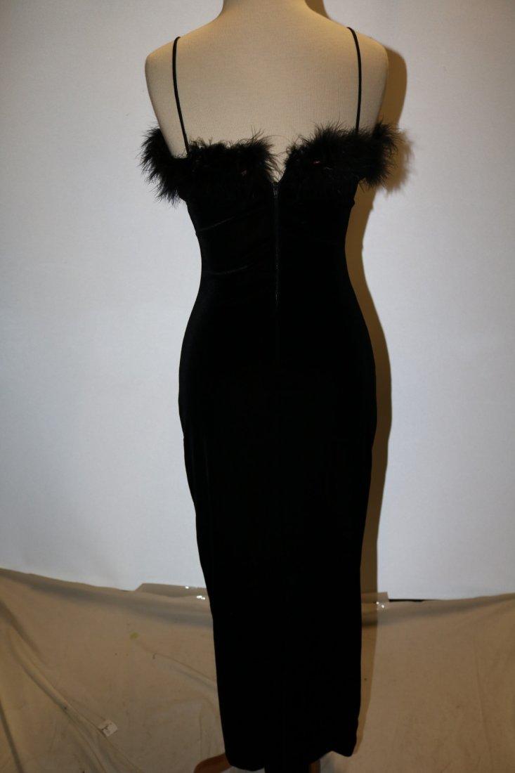 Black Velvet Spaghetti Strap Wiggle Maxi Dress/Gown - 4