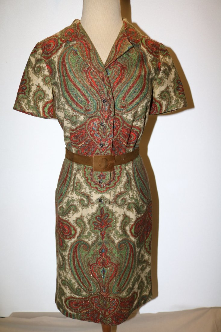 1950's Cotton Wool Knit Paisley Shirt Waist Dress