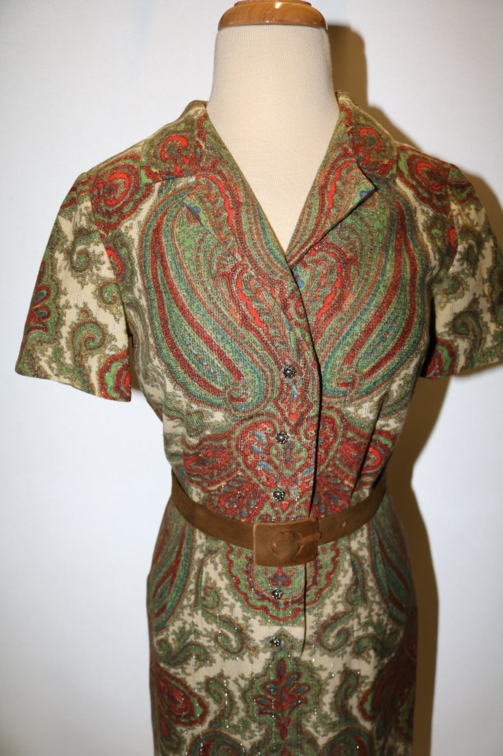 1950's Cotton Wool Knit Paisley Shirt Waist Dress - 2