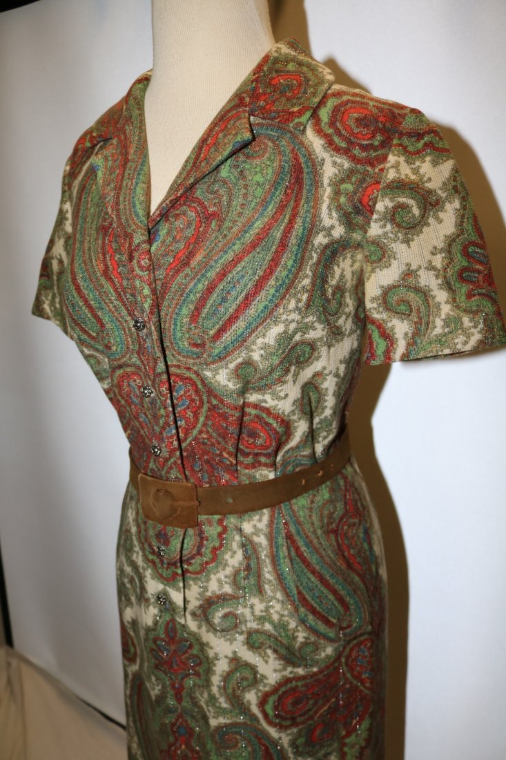 1950's Cotton Wool Knit Paisley Shirt Waist Dress - 3