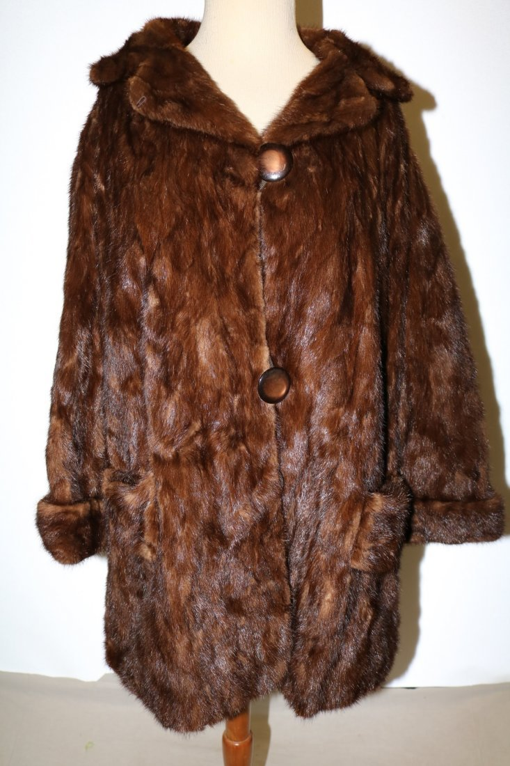 Dark Brown 1950's Ladies Vintage Mink Coat