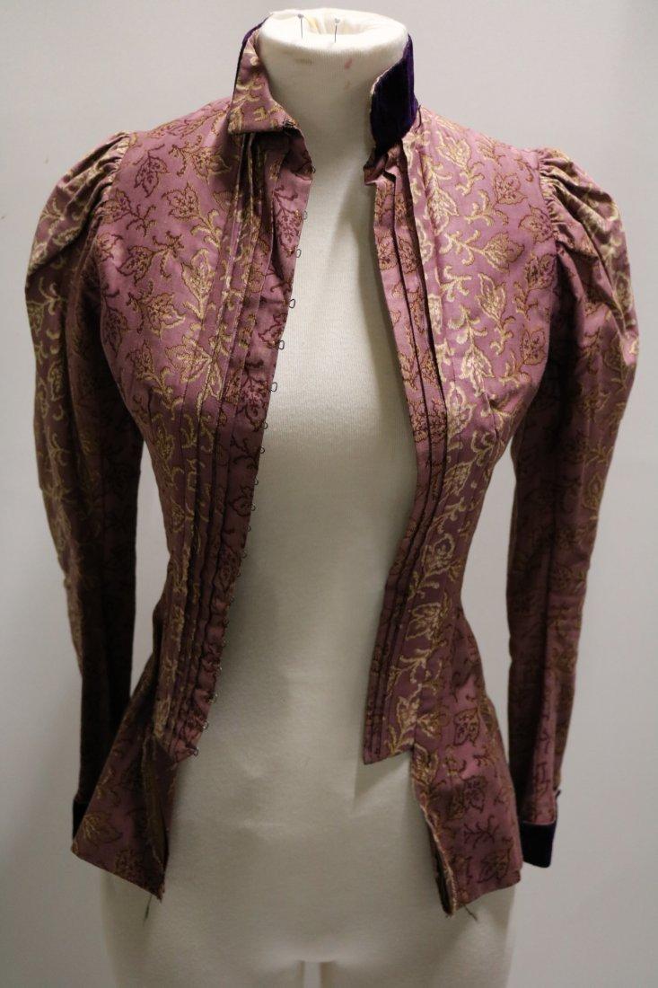 Purple & Gold Victorian Bodice in Cotton & Velvet - 4